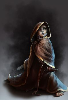 f Halfling Rogue Thief cloak dagger Dungeons And Dragons Characters, Dnd Characters, Fantasy Characters, Female Characters, Fantasy Figures, Fictional Characters, Dark Fantasy, Fantasy Rpg, Medieval Fantasy