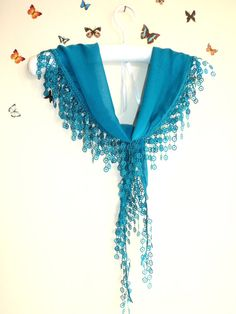 BlueCottonScarfShawlBandanaHeadbandWedding by bestbazaar on Etsy, $15.00