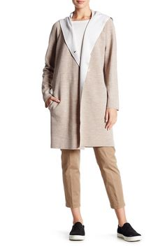 Image of VINCE. Double Face Wool Blend Hooded Coat