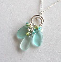 Sea Glass Jewelry California | Sea Glass Jewelry Aqua Sea Foam Green Wave Toggle Necklace Sterling ...