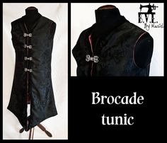 Brocade tunic/fantasy/lord of the rings/medieval-style/black and red/metal frogs/male tunic