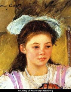 Ellen Mary Cassatt With A Large Bow In Her Hair - Mary Cassatt - www.marycassatt.org
