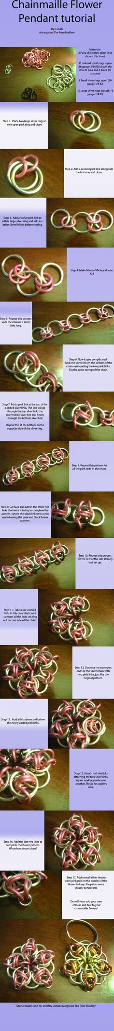 Chainmaille flower tutorial by ~lunabellvarga on deviantART