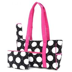 Belvah Black  amp  White Quilted Polka Dots 3 PC Diaper Bag w  Pink Trim f0cdc0f242