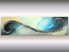 "ORIGINAL große 72"" abstrakte Malerei moderne Acryl Malerei blau gold Landschaft überdimensionalen Leinwand Kunst Wand ArtGallery bildende Kunst"