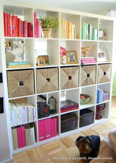 This is how it's done! Lots of shelf space, with plenty of room for baskets and boxes to hide the messy stuff! And, the unit is from IKEA! Design Darling