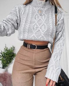 Top| Sweater| Grey| Gray| Cable knit| High neck| Turtleneck| Crop| Long sleeve| Flared| Pants| Trousers| Nude| Tan| Beige| Belt| Gold| Bag| Purse| Shoulder bag| Leather| Necklace| Pendant| Fall| Autumn| P794