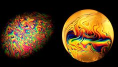 """Jane Thomas, 58, captures the incredible patterns which form in soapy water before it is blown through an ordinary bubble wand.    She said: """"One day I noticed the flat soapy films across the squares of the grid inside a grill pan.    """"I don't think I'd ever noticed their tiny colourful patterns before and it struck me they'd make a good subject.    """"I couldn't wait to get the camera out, that's when the mania for bubbles came about."""""""