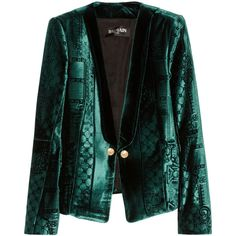 Balmain Velvet-brocade blazer (¥256,365) ❤ liked on Polyvore featuring outerwear, jackets, blazers, coats, emerald, slim fit jacket, balmain, balmain blazer, slim black blazer and black blazer