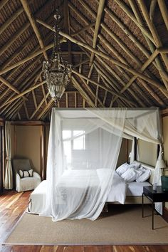 Proof that you can make the functional beautiful is this mosquito-net-draped bed at the Segera eco retreat in Kenya, started by businessman and entrepreneur Jochen Zeitz, a passionate advocate of conservation and sustainable tourism.