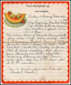 Family Recipe Friday - Chicken and Dressing Casserole  #genealogy #familyhistory