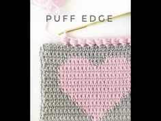 This sweet little crochet puff edge finishes off a heart project perfectly, don't you think? It's a great border for any crochet baby blanket. Bobble Stitch Crochet, Crochet Ripple, Form Crochet, Manta Crochet, Knit Crochet, Crochet Wraps, Crochet Blanket Border, Baby Afghan Crochet, Crochet Borders