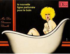 """De la mano del virtuoso René Gruau, a favor de """"Dior Bains"""" (1975)."""