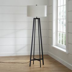 Castillo Black Floor Lamp at Crate and Barrel Canada. Discover unique furniture and decor from across the globe to create a look you love. White Floor Lamp, Modern Floor Lamps, Casual Living Rooms, Living Spaces, Modern Living, Lighting Store, Home Lighting, Lighting Ideas, Interior Styling