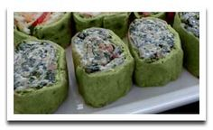 SPINACH PINWHEEL APPETIZERS: 20 ozs frozen chopped spinach (thawed drained & squeezed dry in paper ozs cream cheese, cup cup sour env ranch dip jar bacon bits (or to green onions inches flour tortillas. Pinwheel Appetizers, Finger Food Appetizers, Finger Foods, Appetizer Recipes, Pinwheel Recipes, Spinach Pinwheel Recipe, Spinach Appetizers, Birthday Appetizers, Pinwheel Sandwiches