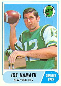 1968 Topps Joe Namath. Namath retired after playing in 143 career games (including playoff games) with 68 wins, 71 losses and 4 ties, in his 132 career starts he was 64–64–4, and he was 4–7 coming off the bench in relief. In his career he threw 173 touchdowns, 220 interceptions, and completed 1,886 passes for 27,663 yards. He is known for once boldly guaranteeing a Jets' victory over the Baltimore Colts in Super Bowl III (1969) and then making good on his prediction with a 16-7 win.
