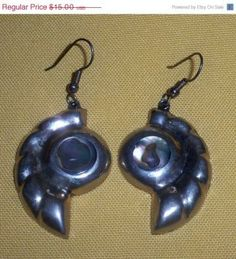 Alpaca Mexico Earrings with Abalone by EvesVintageJewelry for $14.00