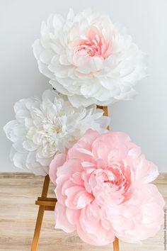Купить Большой бумажный цветок - пион - белый, розовый, пионы, пион, пион из фоамирана