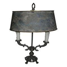 Small Rustic Tole Bouillotte Lamp