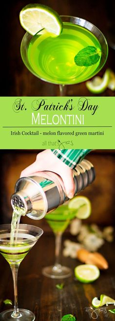 St. Patrick's Day Melon Flavored Martini - Melontini is a is a perfect cocktail to celebrate St. Patrick's day or just because