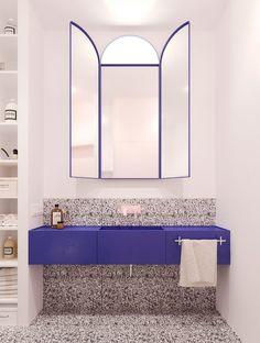 Iya Turabelidze of interior design company Concretica describes the styles… – Badezimmer einrichtung Eclectic Bathroom, Bathroom Interior Design, Modern Bathroom, Mirror Bathroom, Bathroom Black, Bathroom Stuff, Bathroom Kids, Bathroom Towels, Small Bathroom