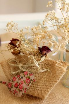 burlap and dry flowers on my table