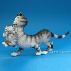 Mom-and-Her-Baby-Kittens-CAT-STATUE-SCULPTURE-ARTIST-ALBERT-DUBOUT-FRANCE-Chat
