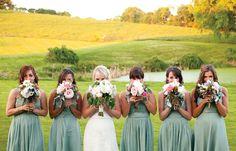 Work the whole color scheme, and flower selections off of these bouquets - Katie loves this!