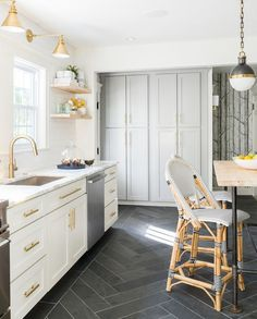 White Grey Brass Kitchen With Herringbone Tile Floor Flooring  MS  International Slate Home Depot