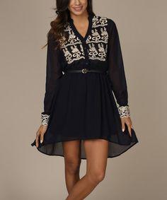 Look at this #zulilyfind! Navy Embroidered Chiffon Belted Hi-Low Dress by Pinkblush #zulilyfinds