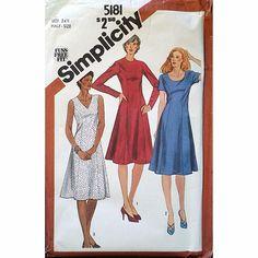 Misses Dress Neckline Simplicity 5181 Pattern Vintage 1981 Size 24 1/2 c1137 #Simplicity