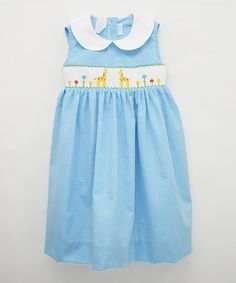 Look at this Betti Terrell Blue Smocked Giraffe Dress - Toddler & Girls on #zulily today!