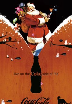"""The imaginative portraits of the """"Coca-Cola Santa Claus"""" that Haddon Sundblom painted over a span of 33 years forever changed the world's pe. Coke Santa, Coca Cola Santa, Coca Cola Christmas, Coca Cola Ad, Always Coca Cola, World Of Coca Cola, Pepsi, Christmas Art, Xmas"""