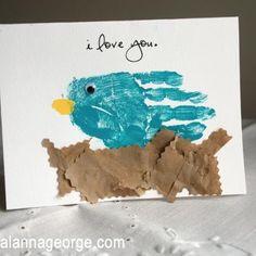 Mother's Day Handprint Bird Card {Handprint Crafts for Kids} Preschool Crafts, Fun Crafts, Paper Crafts, Preschool Ideas, Spring Crafts, Holiday Crafts, Spring Art, Spring Birds, Spring Theme