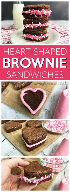 Are you looking for a cute dessert or snack for Valentine's Day? These heart-shaped brownie sandwiches are a must.  Easy to make, delicious, and versatile too! #sweettreat #brownies #recipe