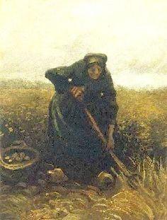 Vincent van Gogh - Woman lifting potatoes     1885