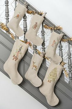 Embroidered Animal Stockings by Coral and Tusk