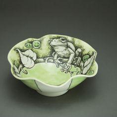 Porcelain bowl with underglaze pencil illustration. CJ Niehaus 18 Hands Gallery in Houston, TX