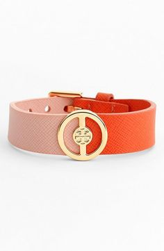 Adding to the arm candy collection - Color block Tory Burch logo leather buckle bracelet