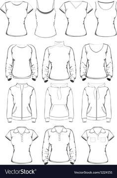 Collection of women clothes outline templates Vector Image , Fashion Design Sketchbook, Fashion Design Drawings, Fashion Sketches, Pencil Art Drawings, Art Drawings Sketches, Drawing Lessons, Drawing Tips, Drawing Drawing, Drawing Anime Clothes