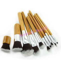 10pcs Wooden Handle Smooth Powder Foundation Face Makeup Brushes Kits | eBay