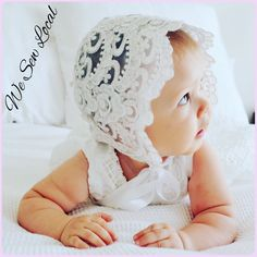 Baptism Bonnet $70 Baby Sewing, Christening, Crochet Hats, Lace, Knitting Hats, Racing