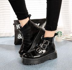 New Gothic Black Womens Platform Motorcycle Ankle Boots Buckle Casual Punk Shoes