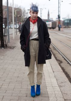 """""""I'm wearing my friend's old jacket, a 12 years old Benetton knit, my mother's old InWear trousers and Vagabond shoes.I like high-waisted trousers, lace and spots of bright colours. I often wear my mother's old clothes. These trousers she bought because of Annie Hall."""""""
