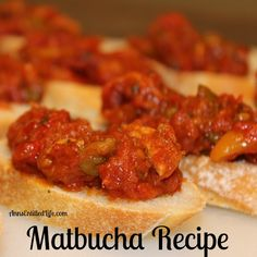 Matbucha Recipe; Matbucha is a beautiful Middle Eastern appetizer made with tomatoes and roasted bell peppers, seasoned with garlic and herbs.  http://www.annsentitledlife.com/recipes/matbucha-recipe/