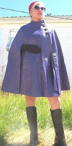 Nice Purple Leather Cape!!   GORGEOUS VTG 1960'S PURPLE LEATHER CAPE - MOD WOMAN'S PURPLE LEATHER CAPELET | eBay