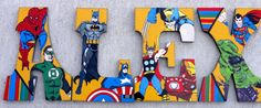 Hand Painted Nursery Wall Letters Kids Baby Hanging Wooden Personalized Super Heros Batman Spiderman Thor Hulk Ironman FREE SHIPPING