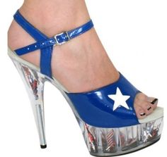 Womens Fourth of July Blue White Star Clear Bottom Heels Size 8 Kitty Paws Shoes | eBay