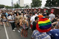 The line at the portable bathrooms at Made in America on September 1, 2012. ( MICHAEL S. WIRTZ / Staff Photographer )