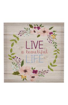 Floral Slogan Canvas Wall Art